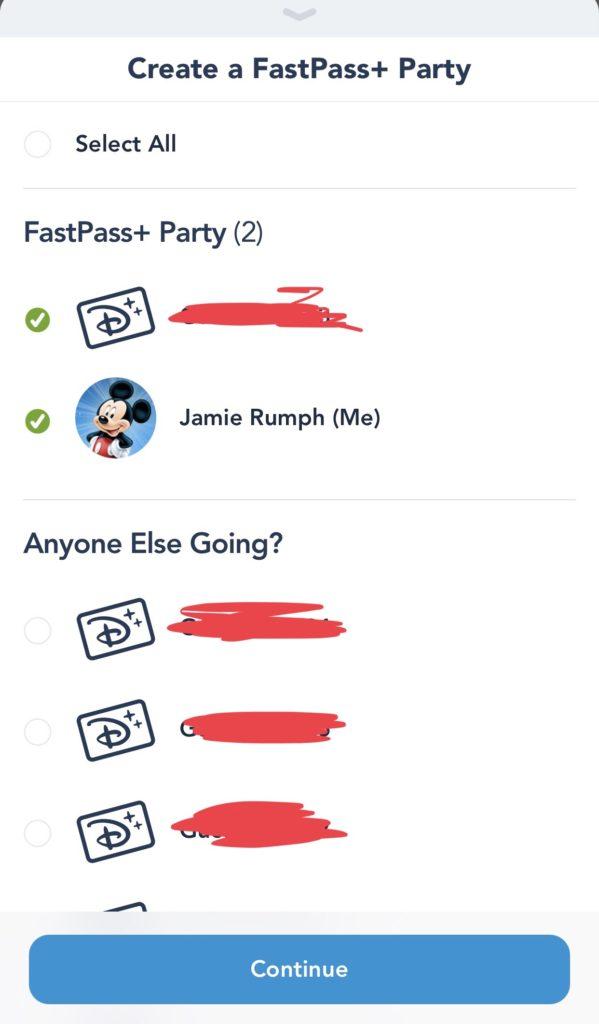 Create FastPass+ party screenshot