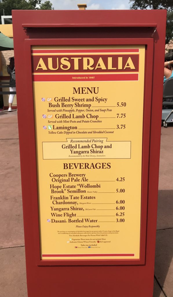 Epcot International Food and Wine Festival Australia Menu