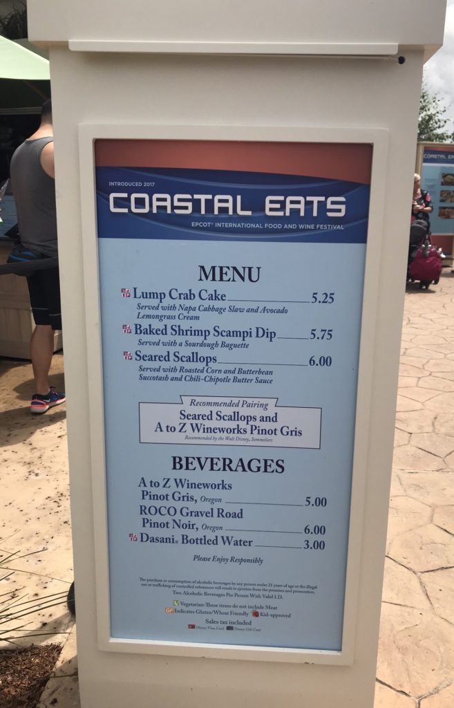 Epcot International Food and Wine Festival Coastal Eats Kiosk menu