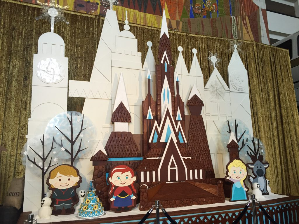 Frozen Gingerbread castle at Disney's Contemporary Resort at Christmas