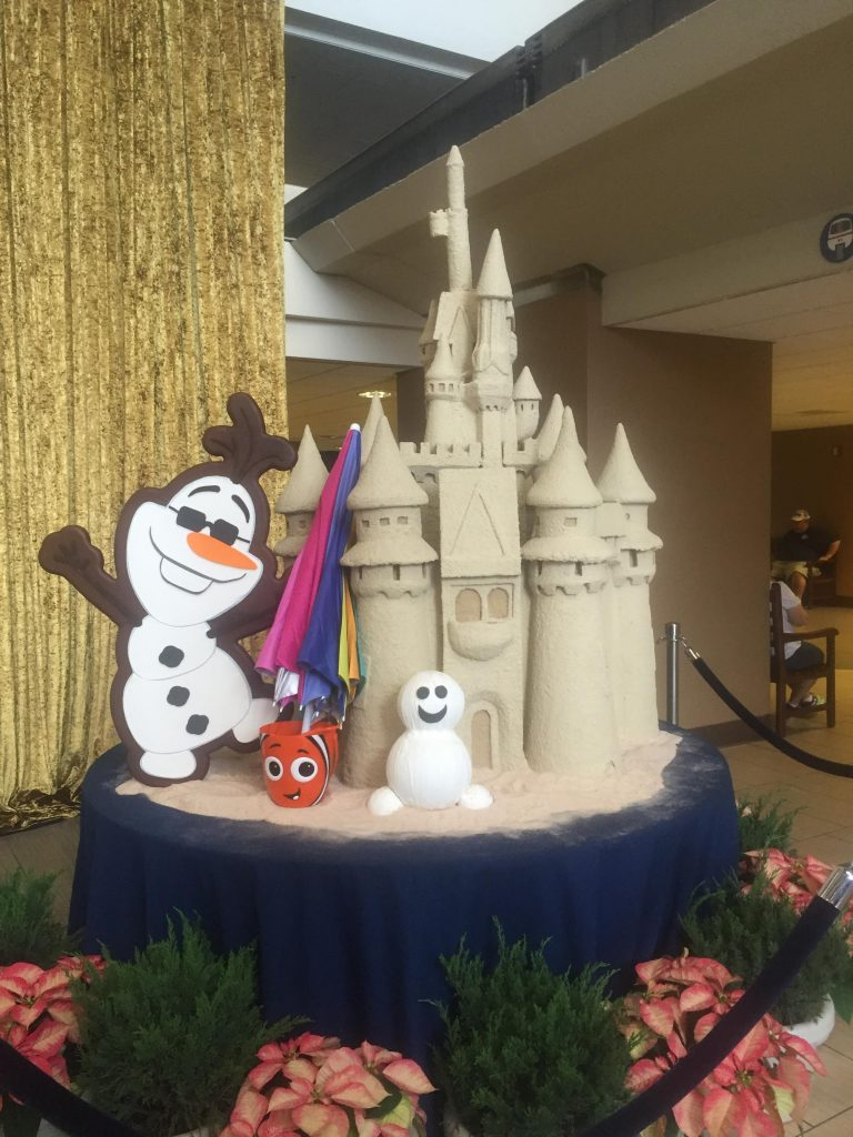 Olaf with his sand castle at Disneys Contemporary Resort