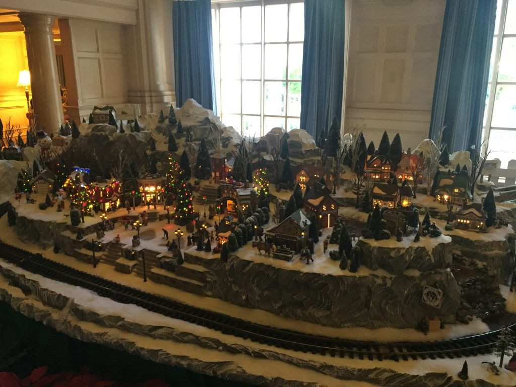 Winter village with model train at Disneys Yacht Club