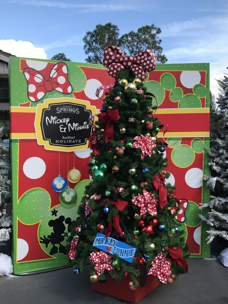 Mickey and Minnie Christmas tree at Disney Springs Christmas tree trail