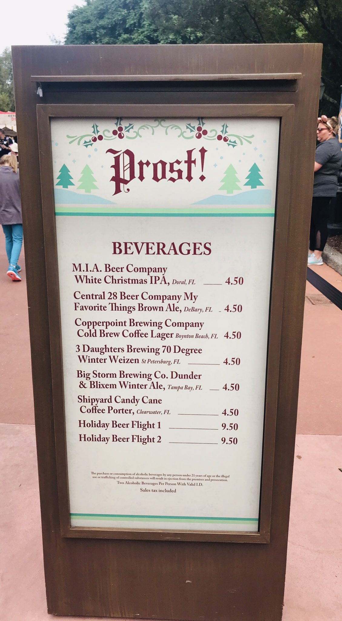 Prost Germany booth menu Epcot Holiday Festival