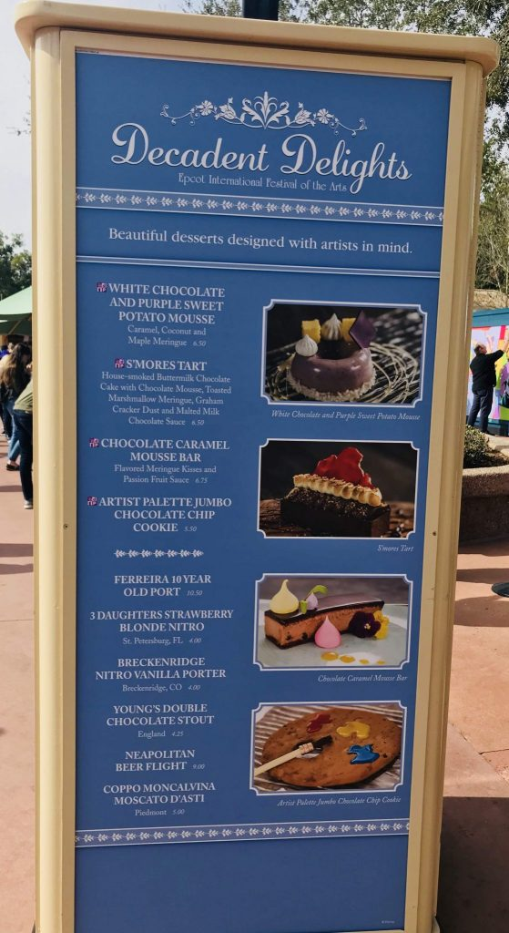 Decadent Delights menu at Epcot Festival of the Arts