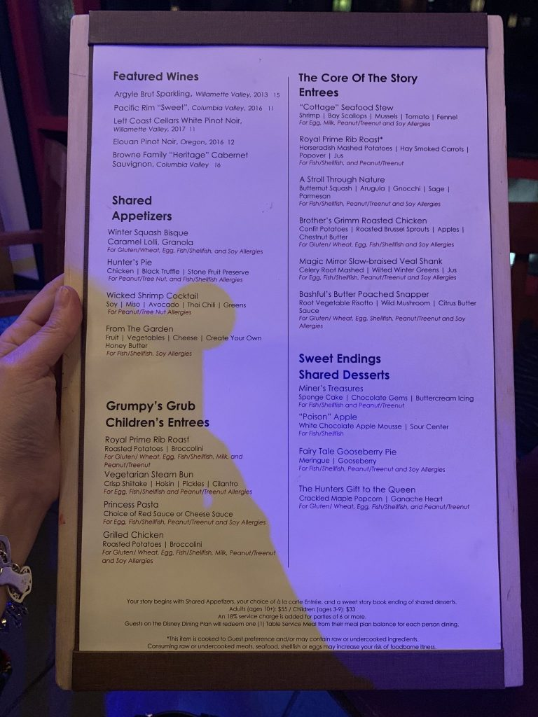 Allergy menu at Storybook Dining with Snow White