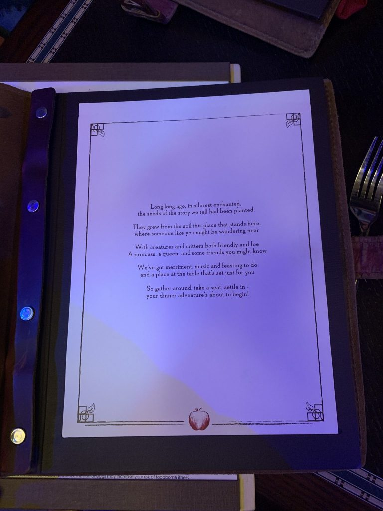 Menu cover at Storybook Dining with Snow White