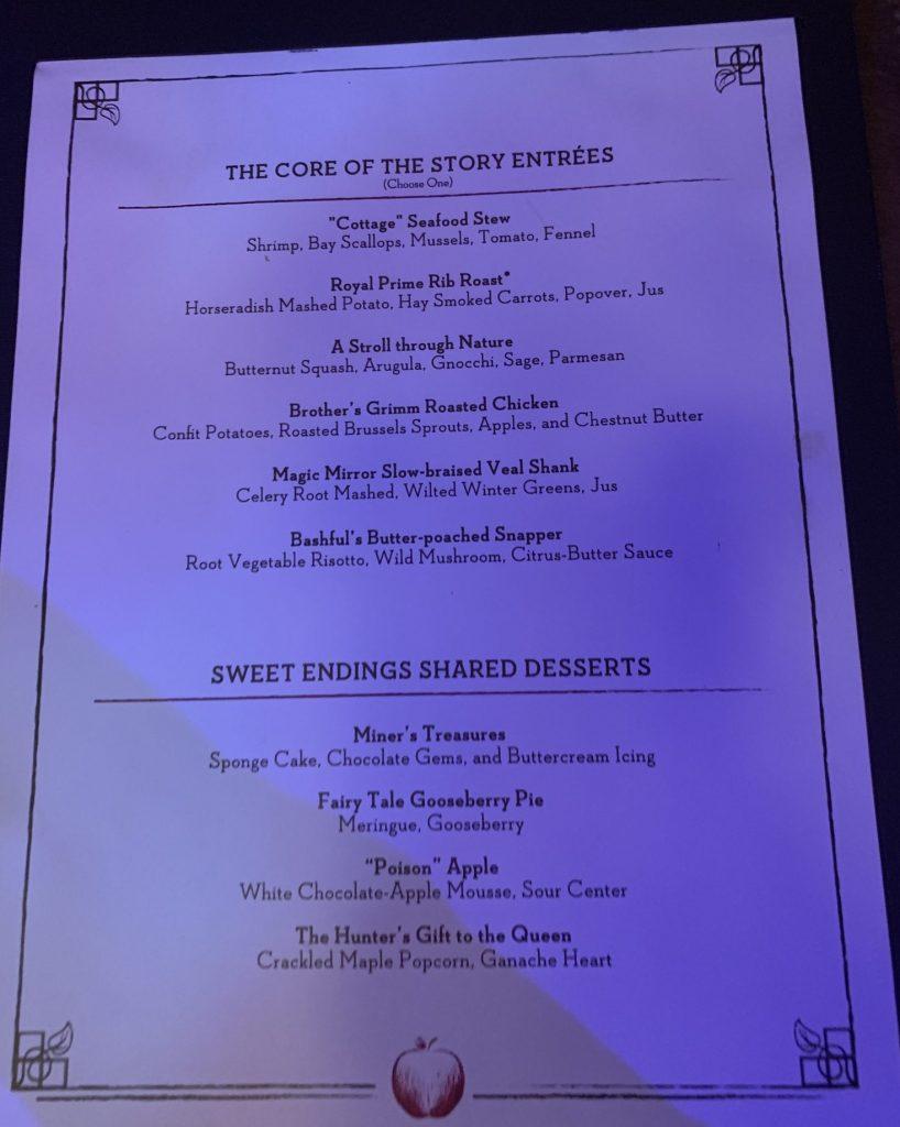 Storybook Dining with Snow White entree menu