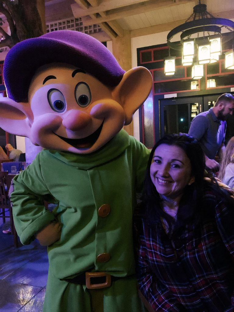 Meeting Dopey at Storybook Dining with Snow White