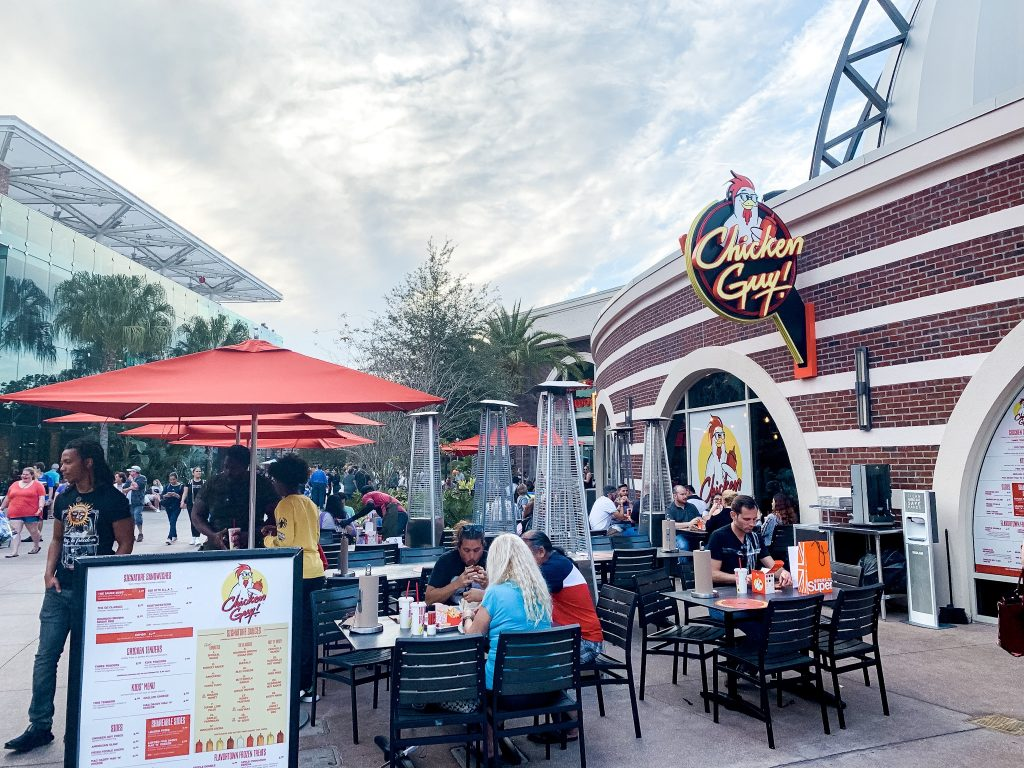 Chicken Guy outdoor seating at Disney Springs in Disney World