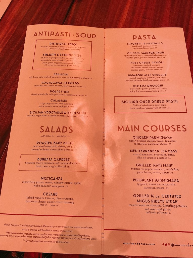 Menu at Maria & Enzo's at Disney Springs