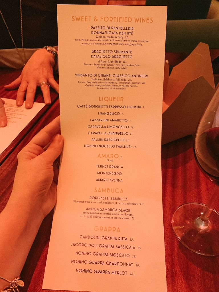 Maria & Enzo's dessert wine and coffee menu