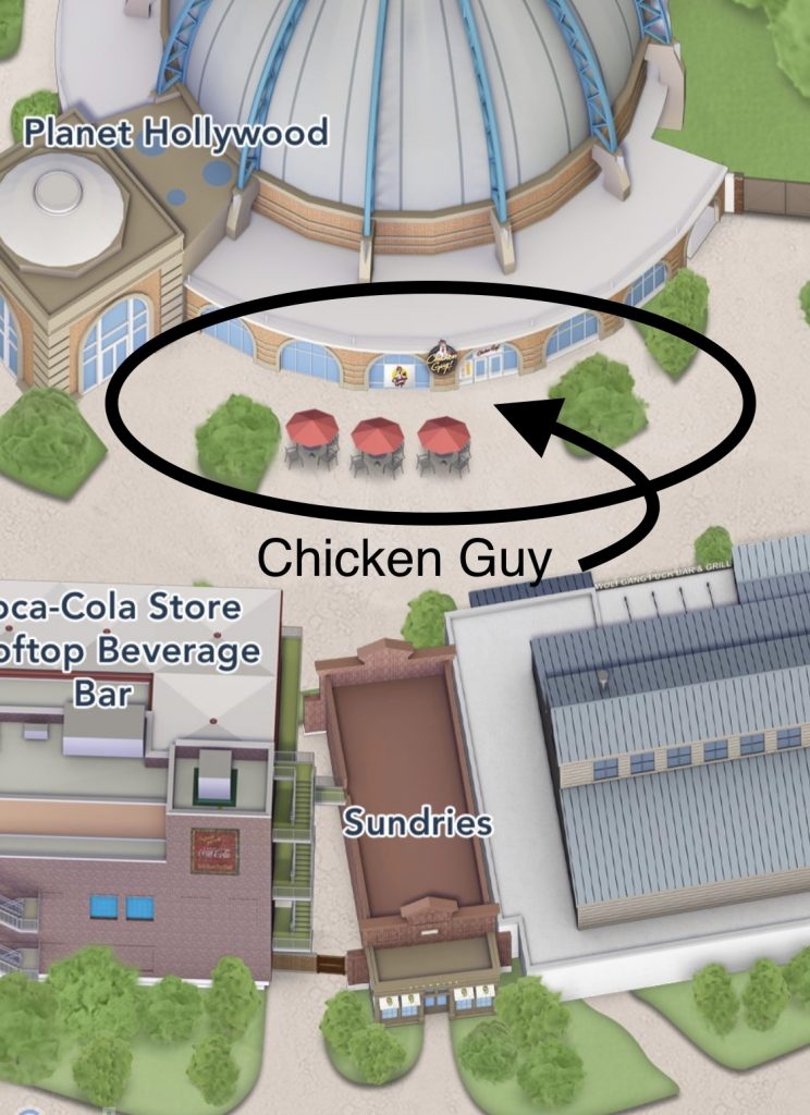 Chicken Guy at Disney Springs close up map location