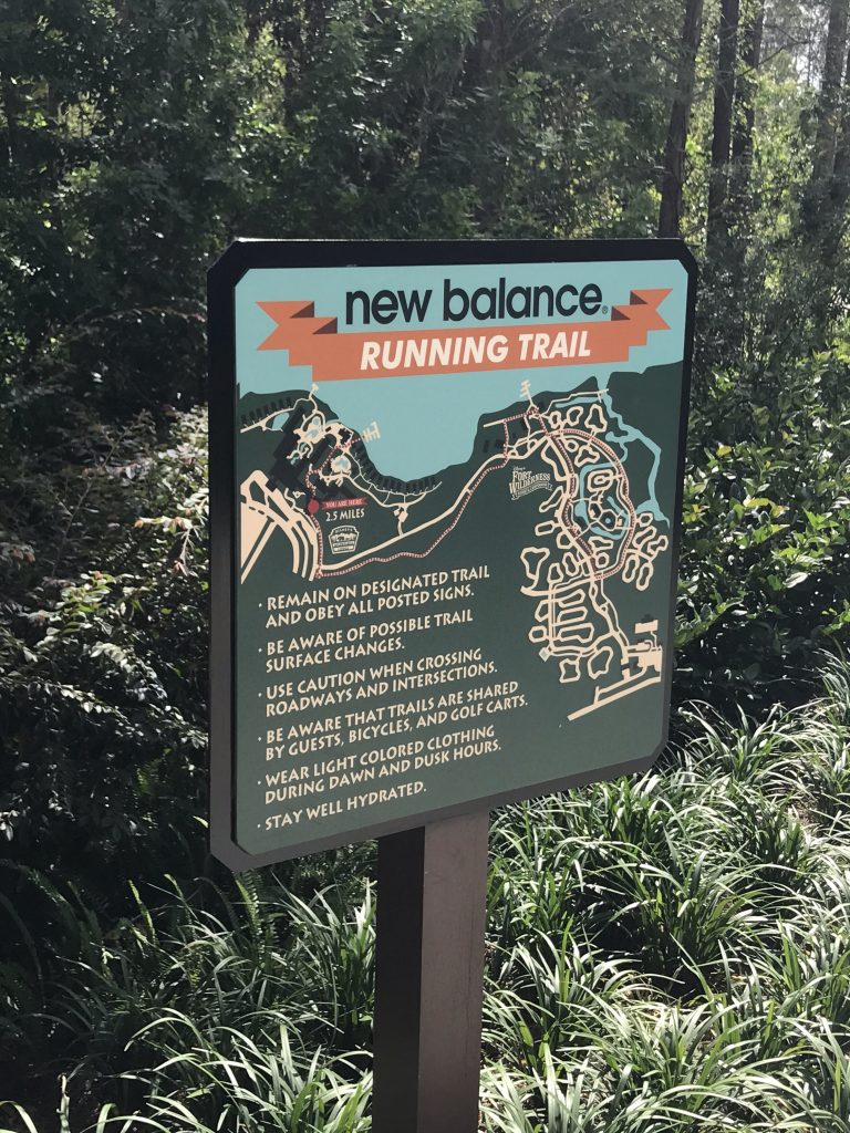 New Balance running trail map at Disney's Wilderness Lodge