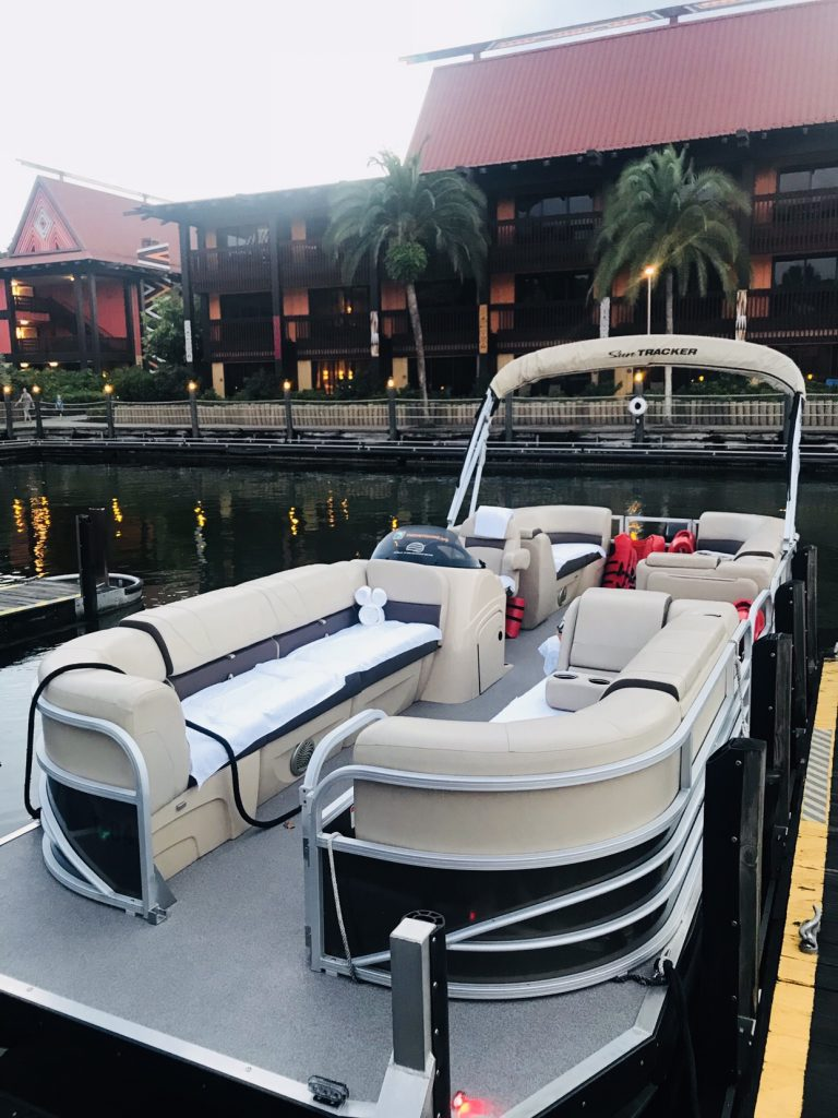 Pontoon boat chartered on Disney's Bay Lake from the Polynesian Resort
