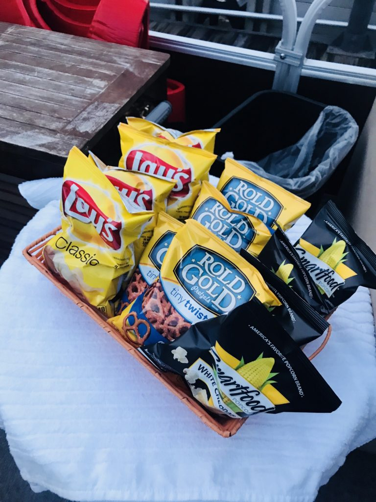 Snacks on our fireworks cruise on Disney's Seven Seas Lagoon