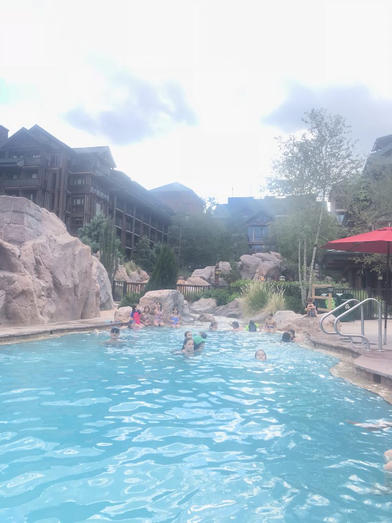 Copper Creek Flows into the pool at Disneys Wilderness Lodge