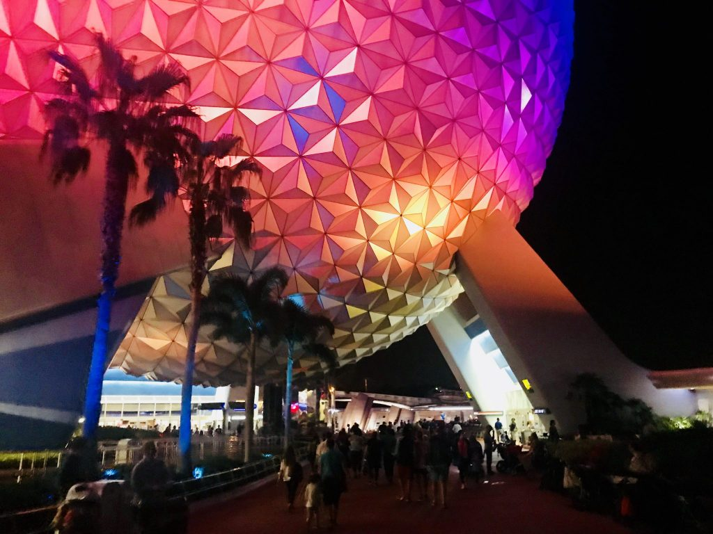 Spaceship Earth at night Epcot