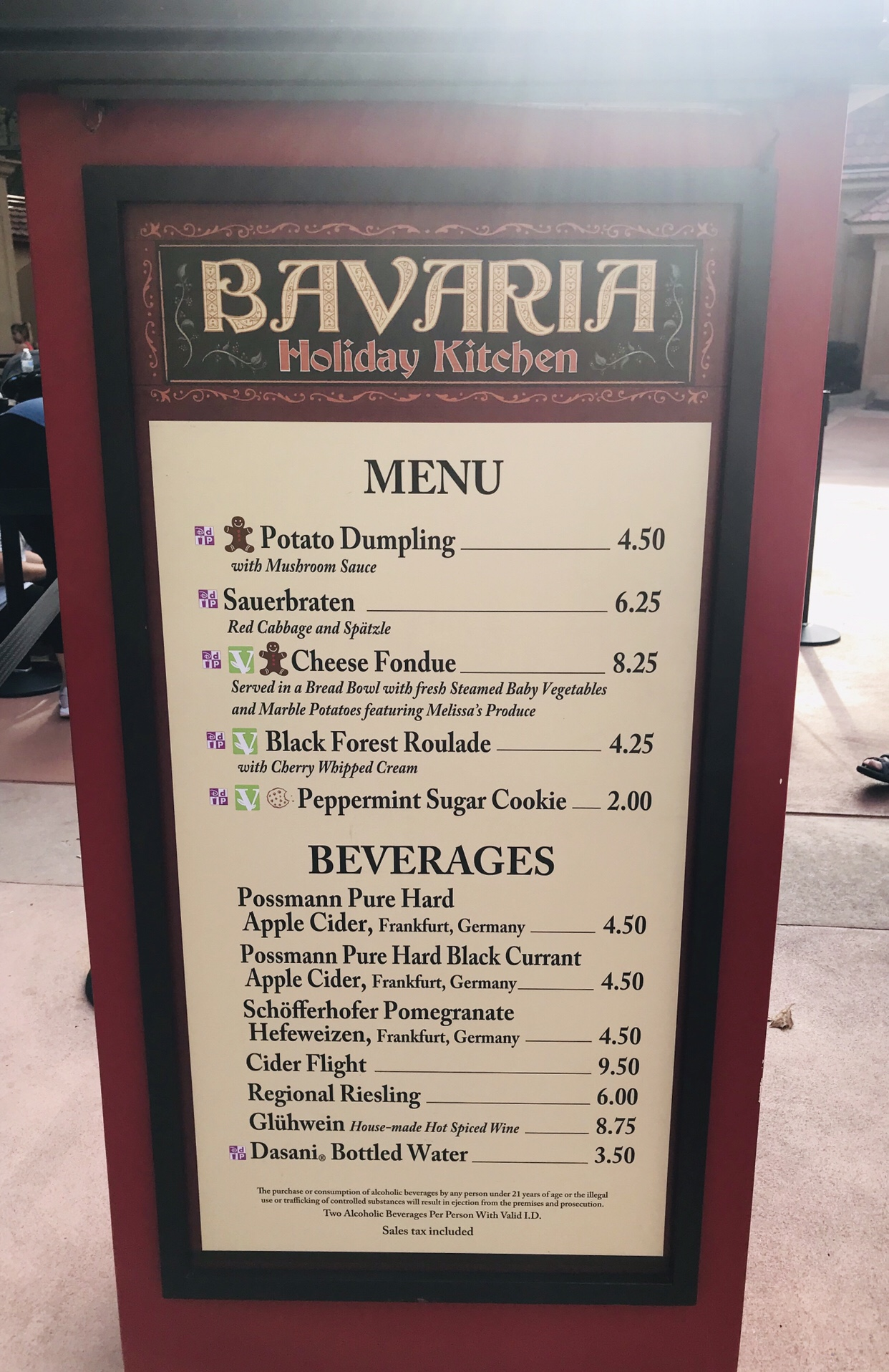 Bavaria Germany booth menu Epcot Holiday Festival