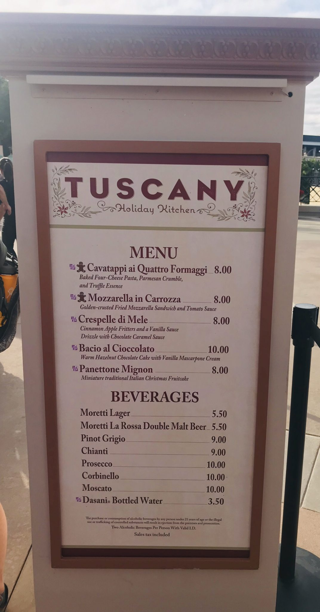 Italy Tuscany booth menu Epcot Holiday Festival