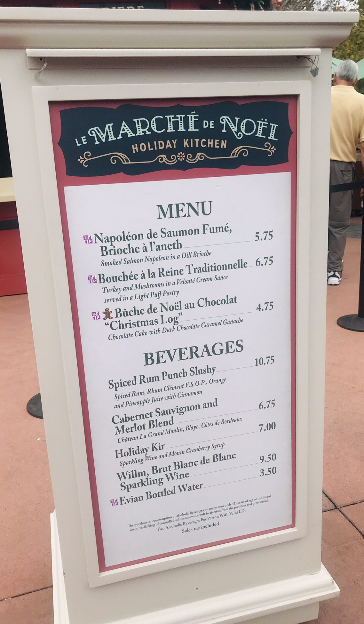 Marche de Noel France booth menu Epcot Holiday Festival