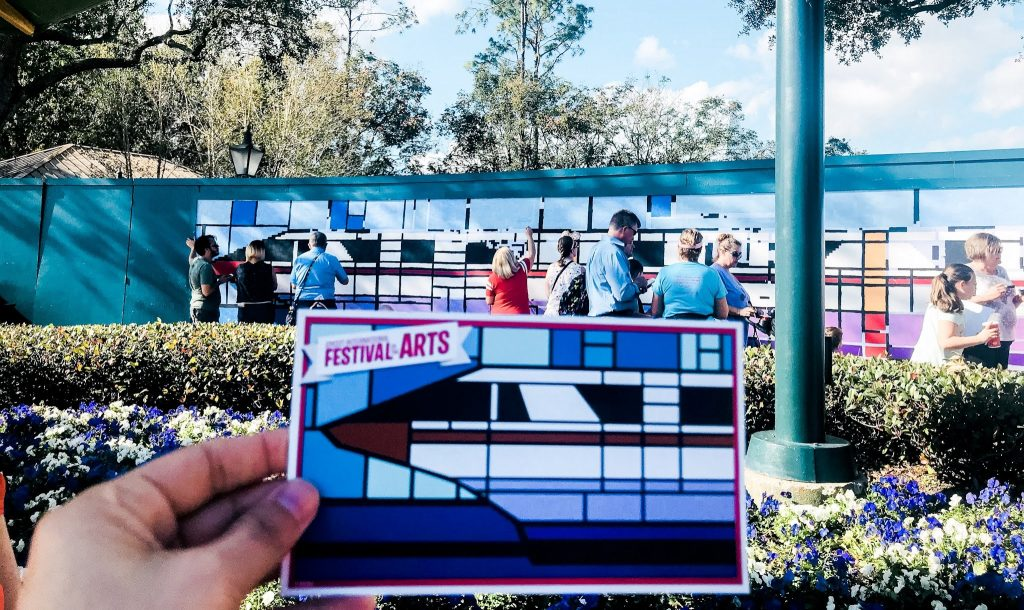Epcot Festival of the Art mural and mural postcard