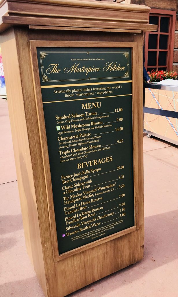 The Masterpiece Kitchen Menu in Canada at Epcot Festival of the Arts