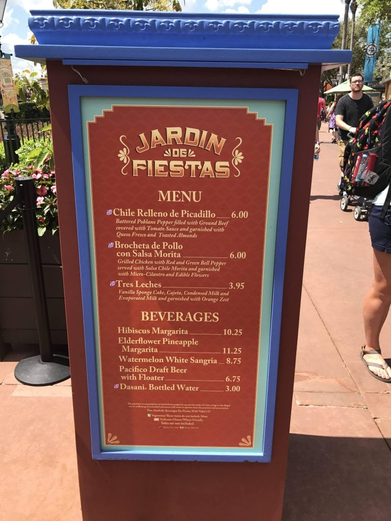 menu for Jardin de Fiestas at Mexico in the Epcot Flower and Garden Festival