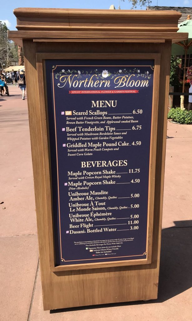 Northern Bloom menu in Canada at Epcot Flower and Garden Festival