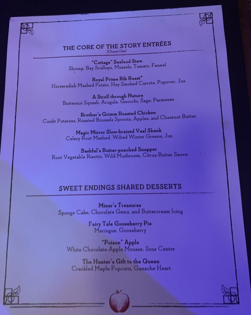 Storybook Dining with Snow White entree menu