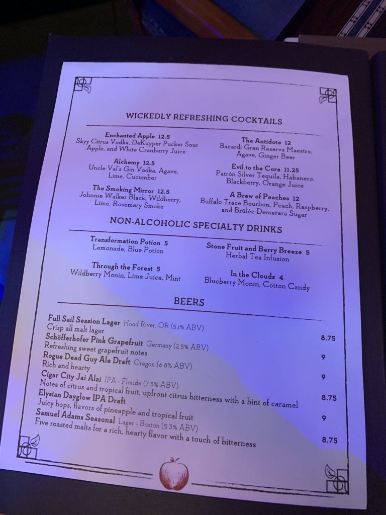 Cocktail Menu at Storybook Dining with Snow White
