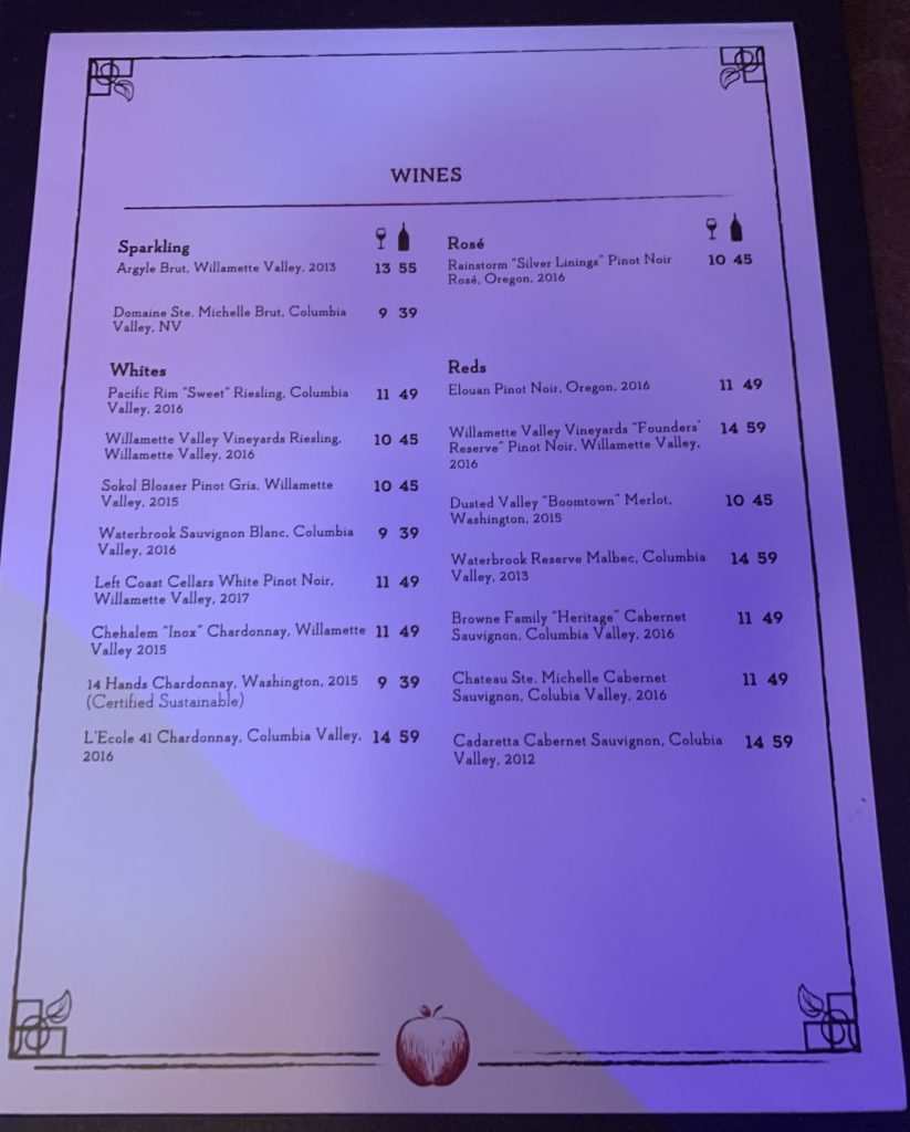 Wine list at Storybook Dining with Snow White