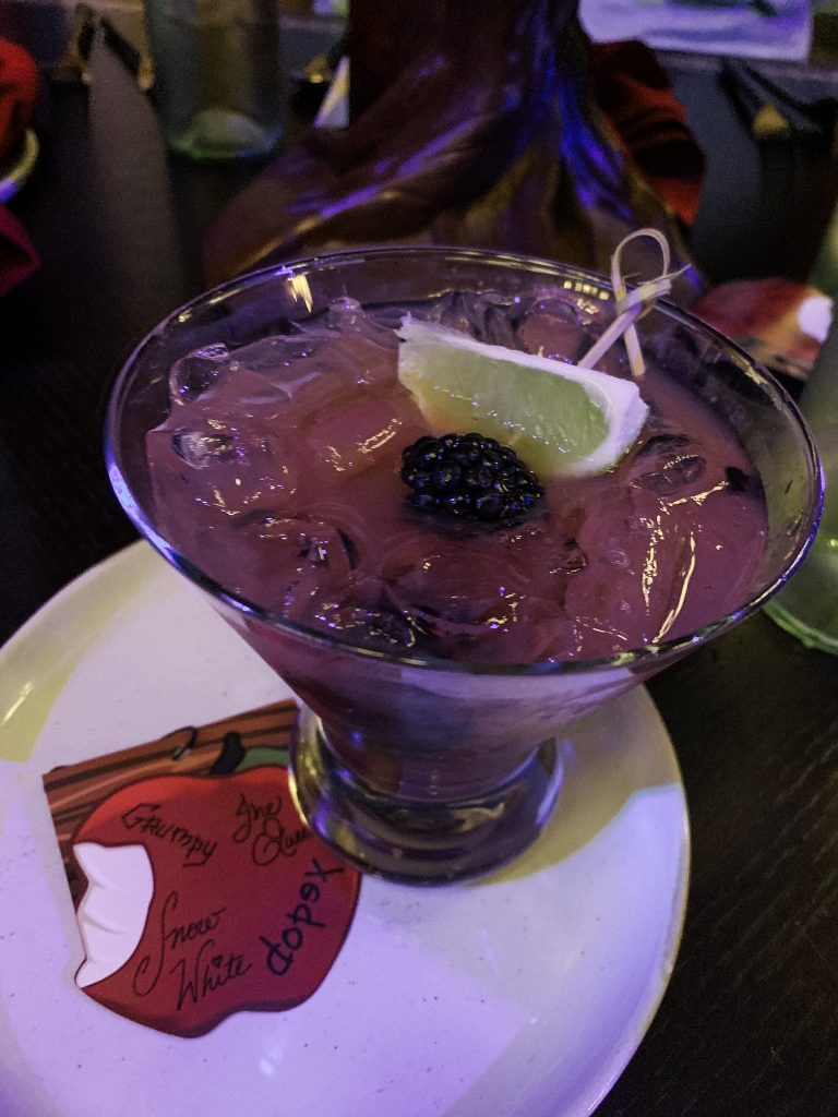 Evil to the Core cocktail at Storybook Dining with Snow White