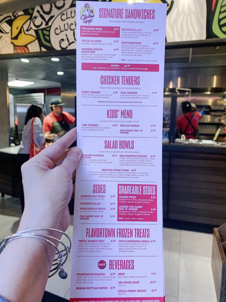 Front of menu handed out at Chicken Guy Disney Springs