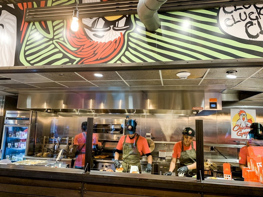 Chicken Guy food line at Disney Springs