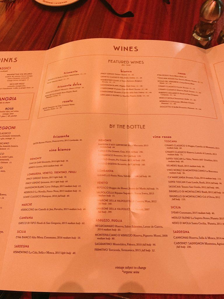 drinks menu at Maria & Enzo's