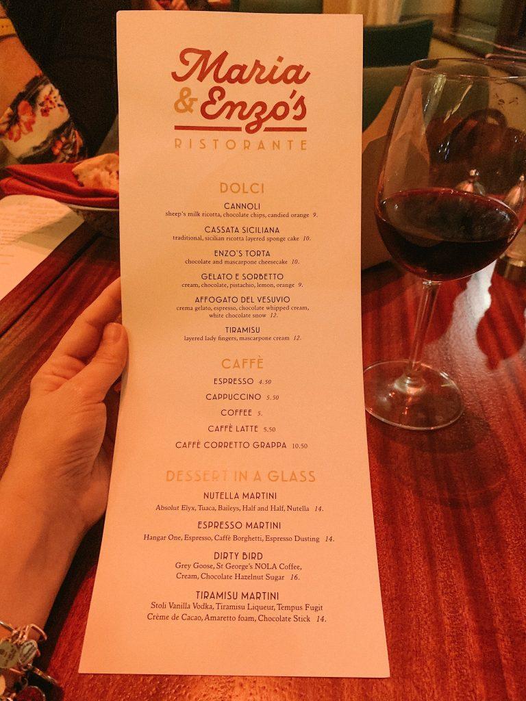 Maria & Enzo's dessert menu
