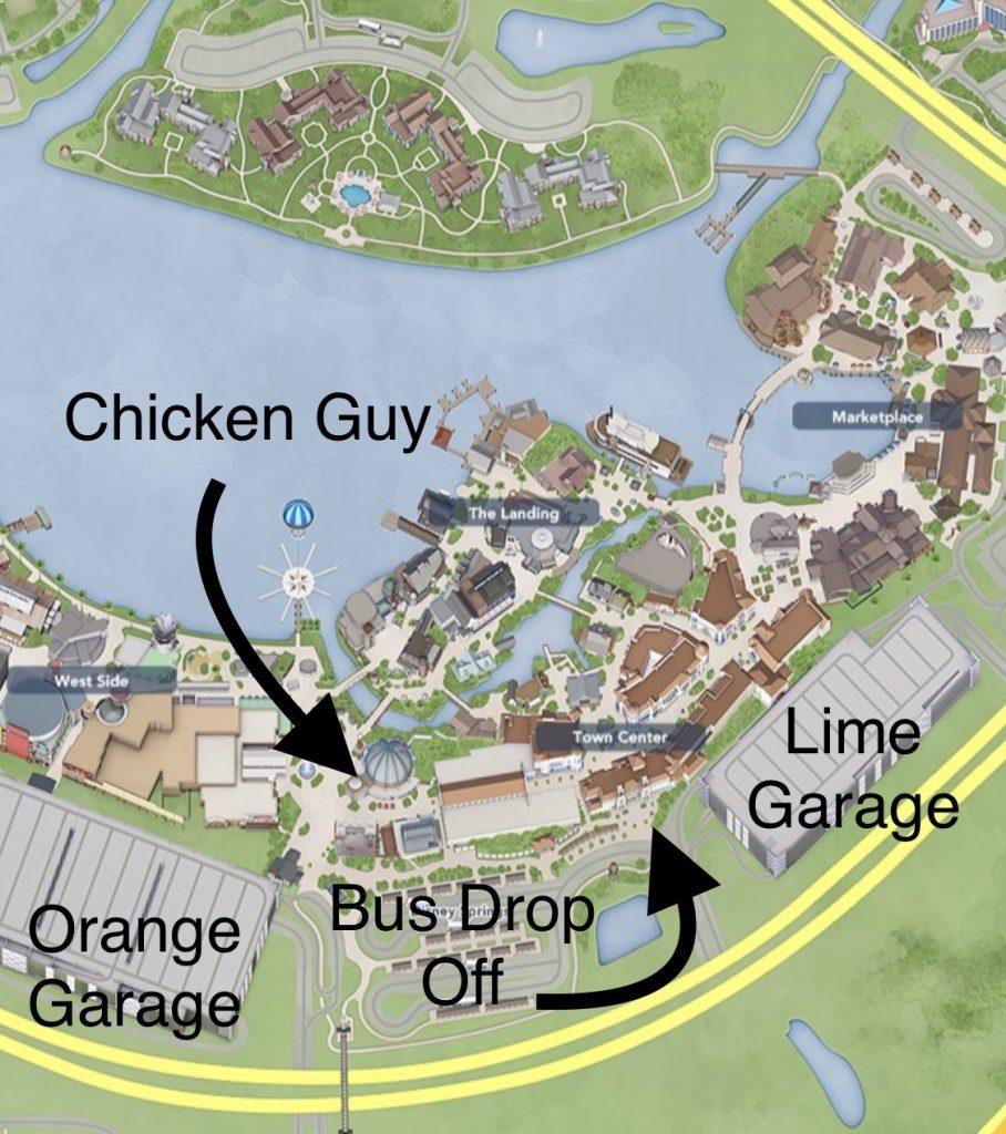 Chicken Guy at Disney Springs map location