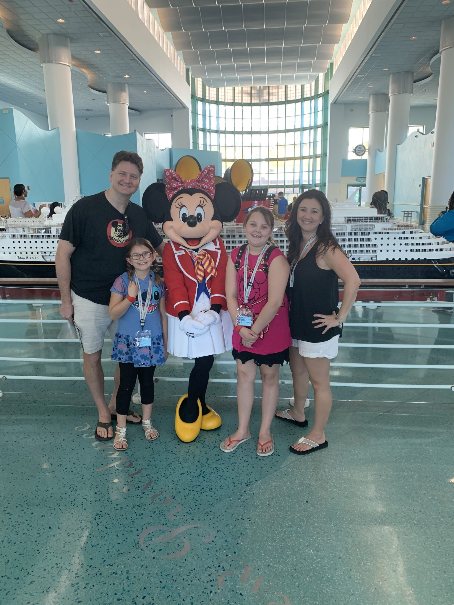 Minnie Mouse at Disney Cruise Port check in