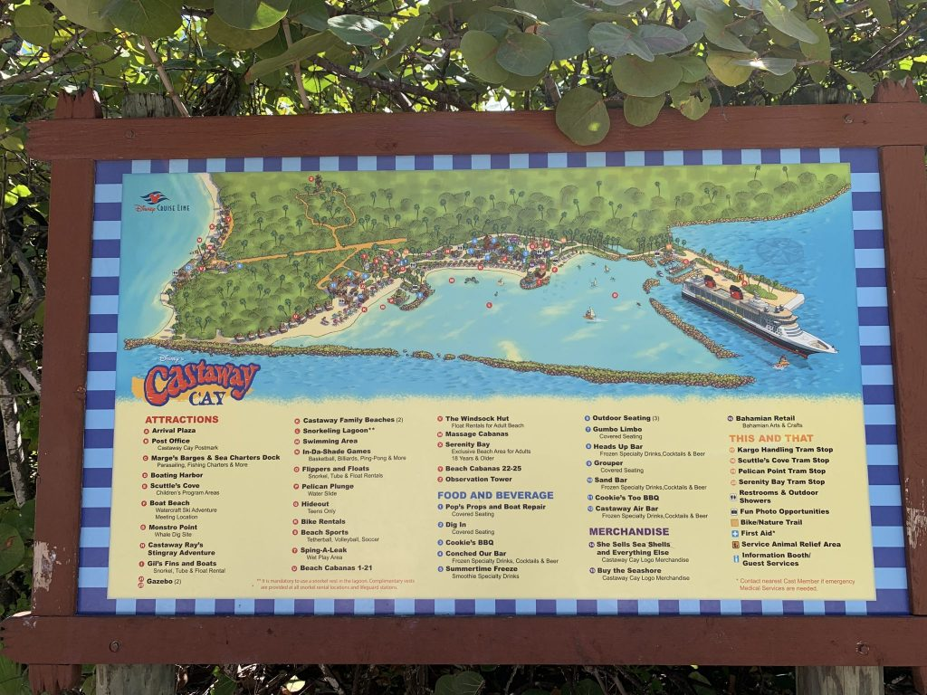 Map of Disney Cruise Line Castaway Cay