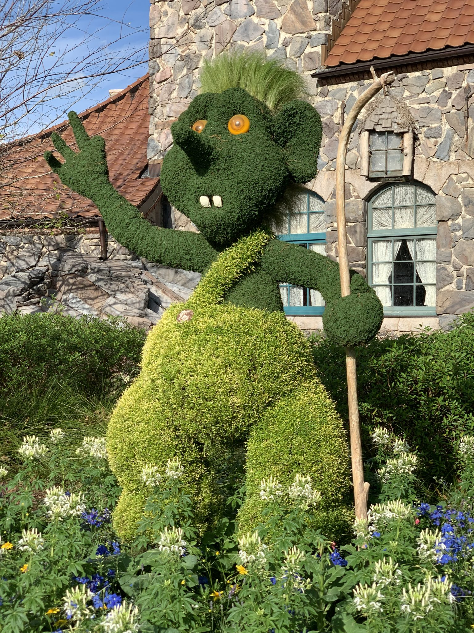 Upclose of the troll topiary at Epcot Flower and Garden Festival