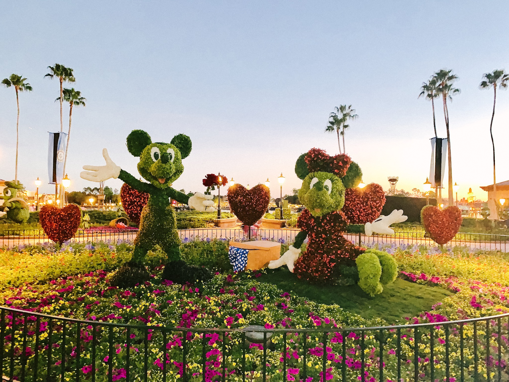 Mickey and Minnie topiary and Epcot Flower and Garden Festival