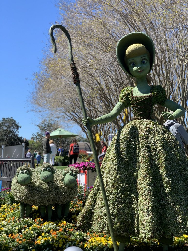 Bo Peep and her sheep at the Epcot International Flower and Garden Festival