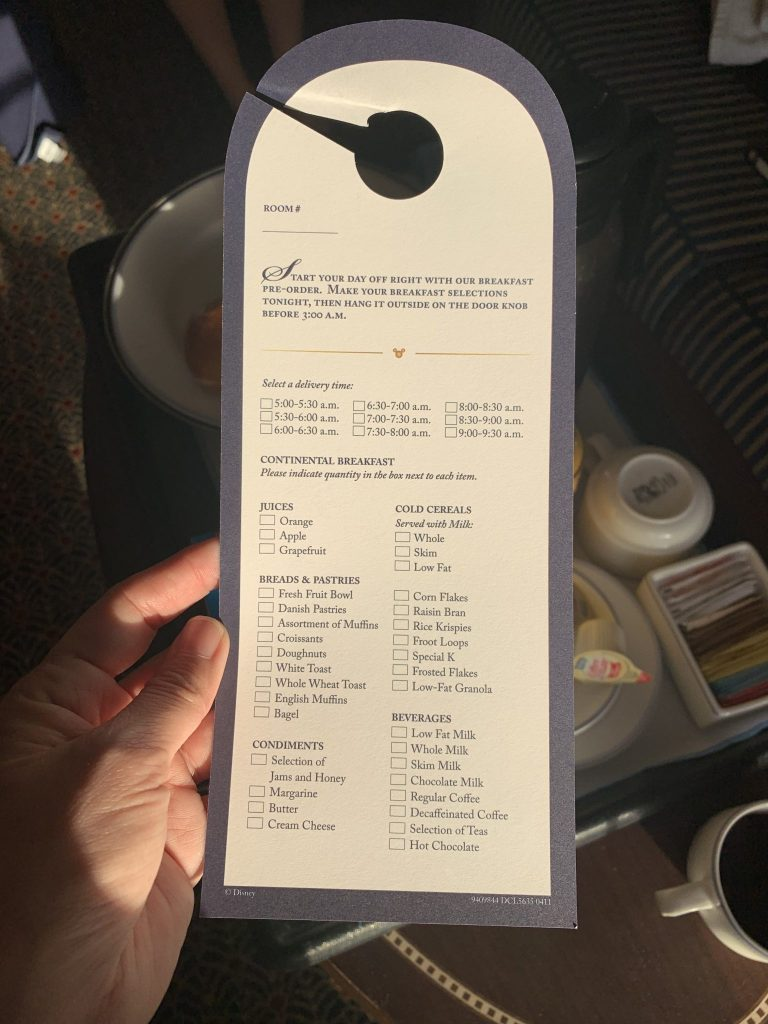 In room room service menu on Disney Cruise Line