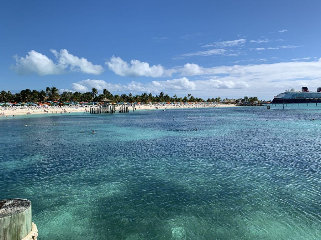 Snorkel Lagoon on Castaway Cay looking back at the island