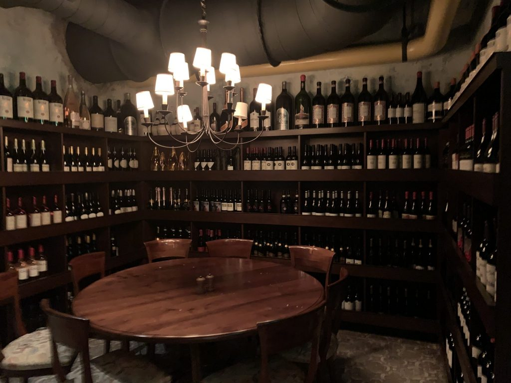 Private wine room for gatherings at Enzo's Hideaway