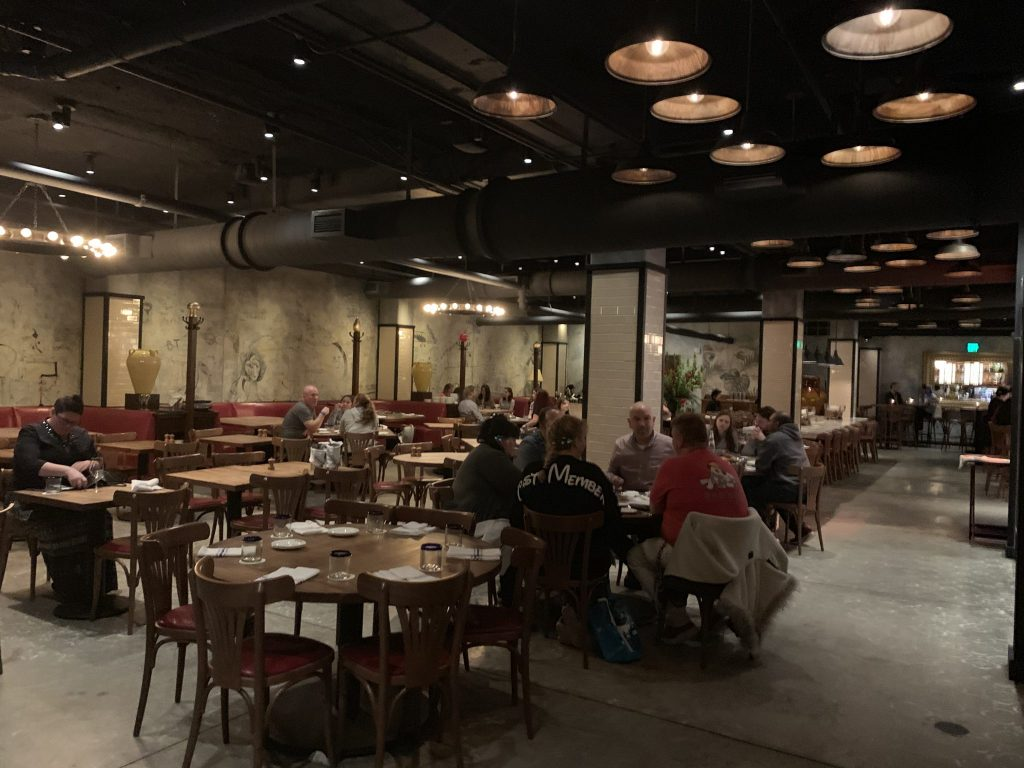 Inside the dining room at Enzo's Hideaway at Disney Springs