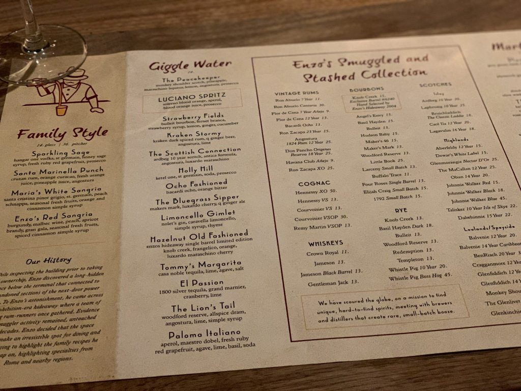 Giggle water alcoholic beverages on Enzo's Hideaway menu