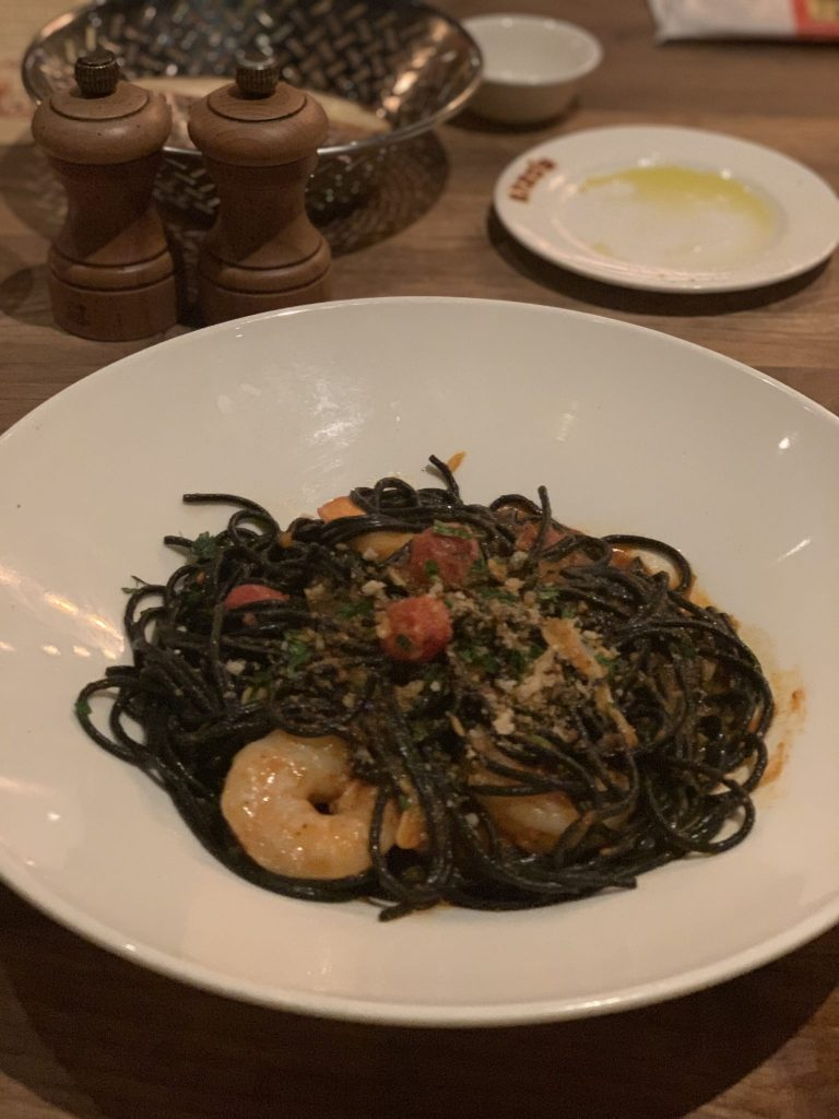 Tonnarelli Neri Pasta at Eznos Hideaway Disney Springs