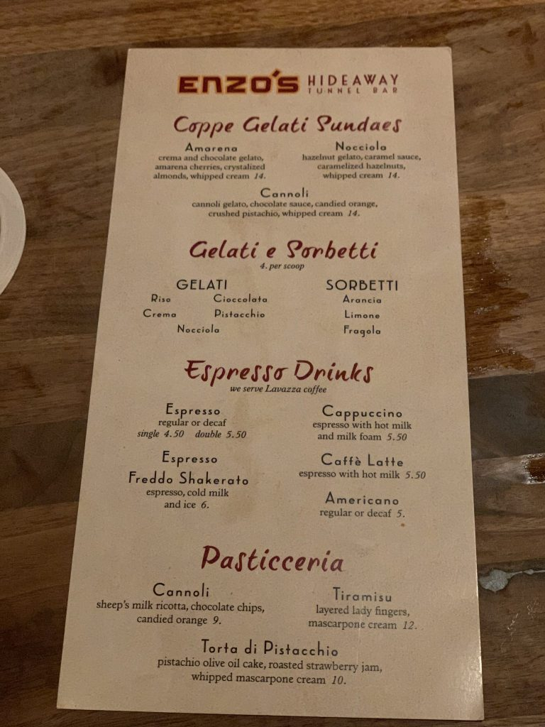 Dessert Menu at Enzo's Hideaway Disney Springs